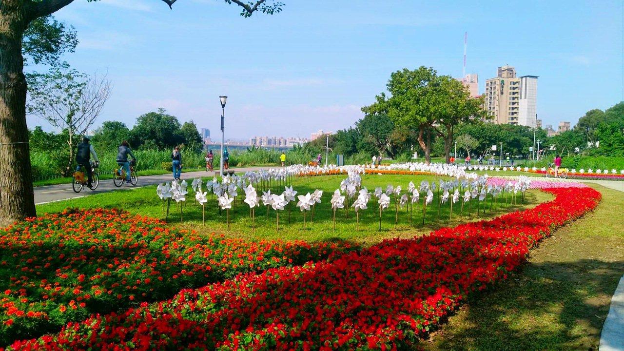 河濱公園一邊漫步或騎車,一邊賞花。圖/臺北市政府工務局水利工程處提供