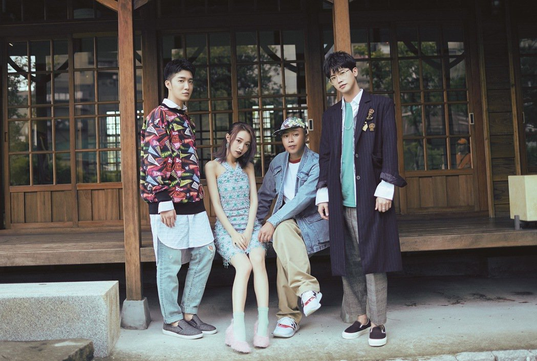 (左至右)曹景豪、陳羽緁、彈頭、洪言翔合拍單曲封面照。圖/日光橘子提供