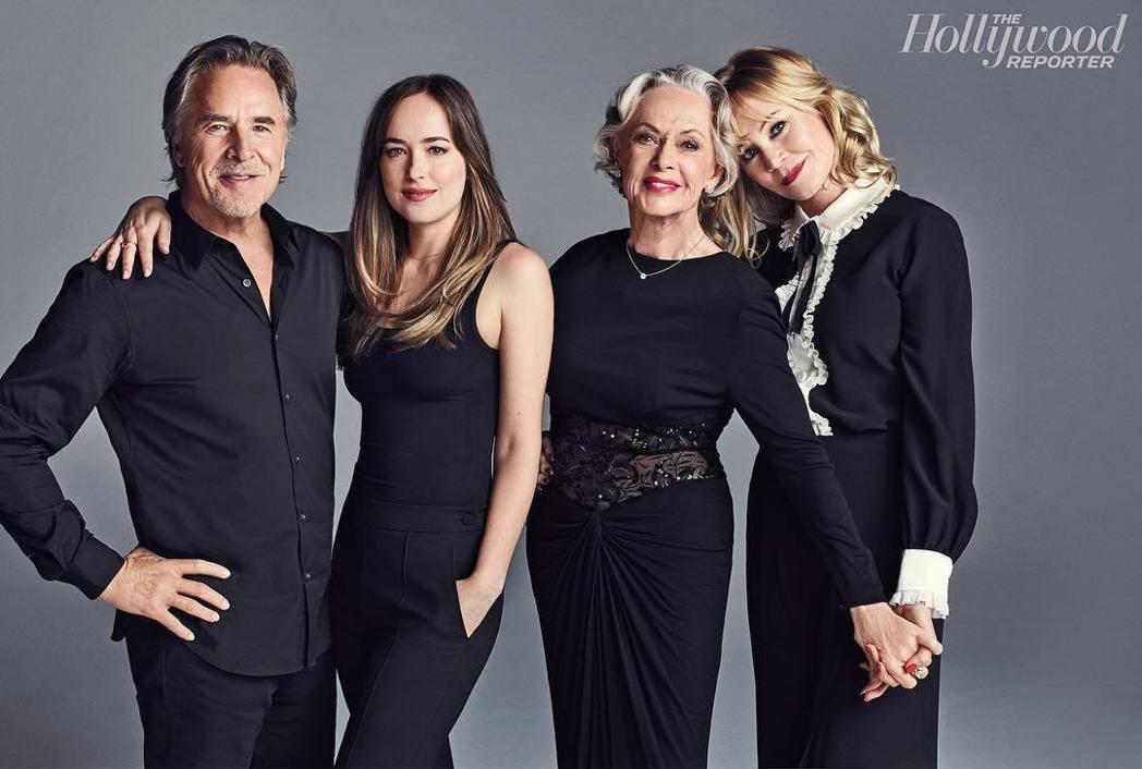 唐強生(左起)、達珂塔強生、提琵海德琳、梅蘭妮葛莉芬一家3代都是紅星。圖/摘自I...