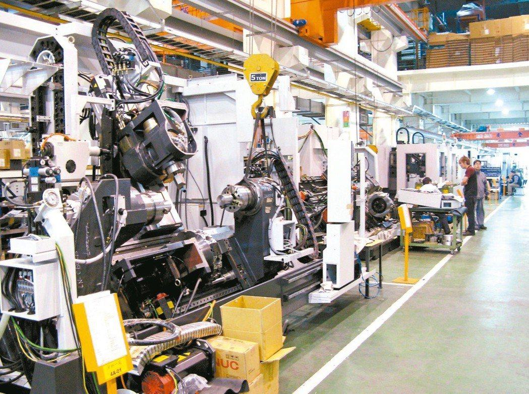 5月工業生產指數111.1,年增7.05%,連續3個月正成長。示意圖/聯合報系資...