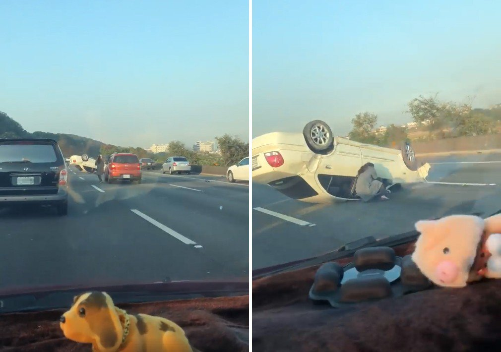 一名女駕駛「路見翻車,下車相助」,感動大批網友。 圖擷自爆料公社