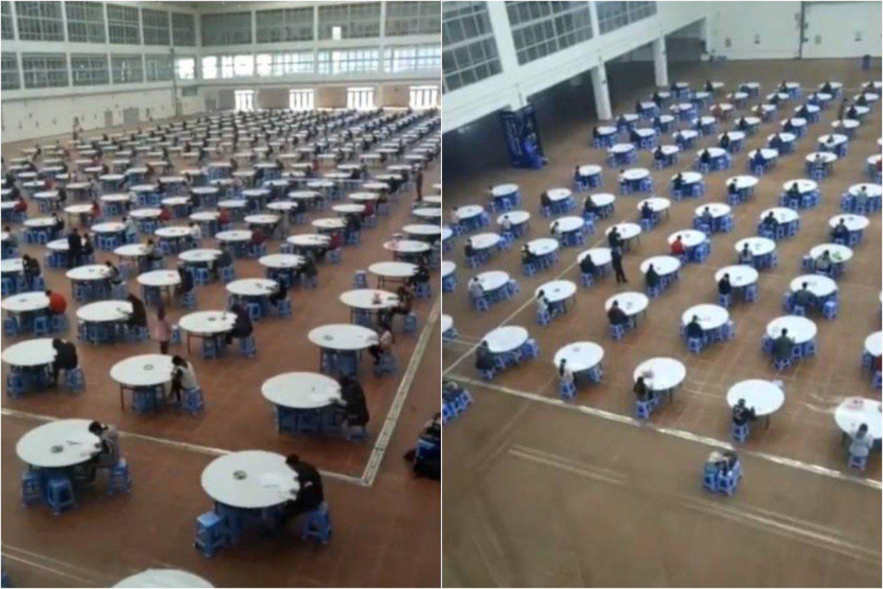 雲南一間師範大學為防止作弊,將370名學生安排在學生食堂裡考試,「一人一圓桌」的...