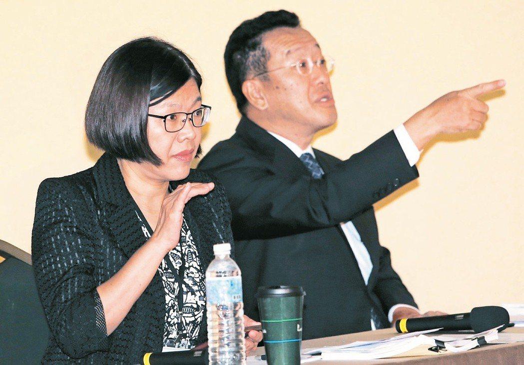 黨產會發言人施錦芳(左)及主委顧立雄(右),7月時主持黨產會舉辦的婦聯會第二次聽...
