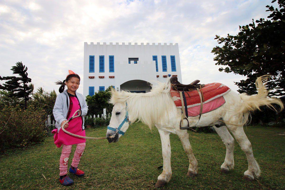 騎乘可愛的迷你馬吸引親子們紛紛到訪「白馬的家」,並可透過解說認識馬的生態。