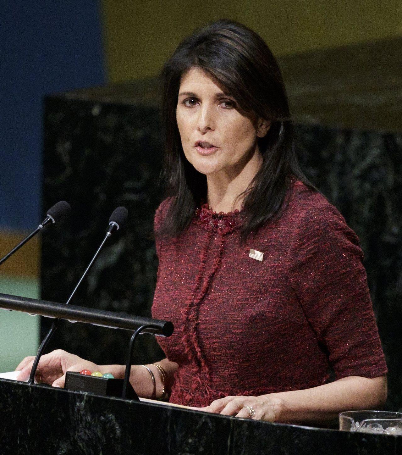美國駐聯合國大使海理:「美國會記住這一天,在聯合國大會上被群起攻之。」(圖/歐新...