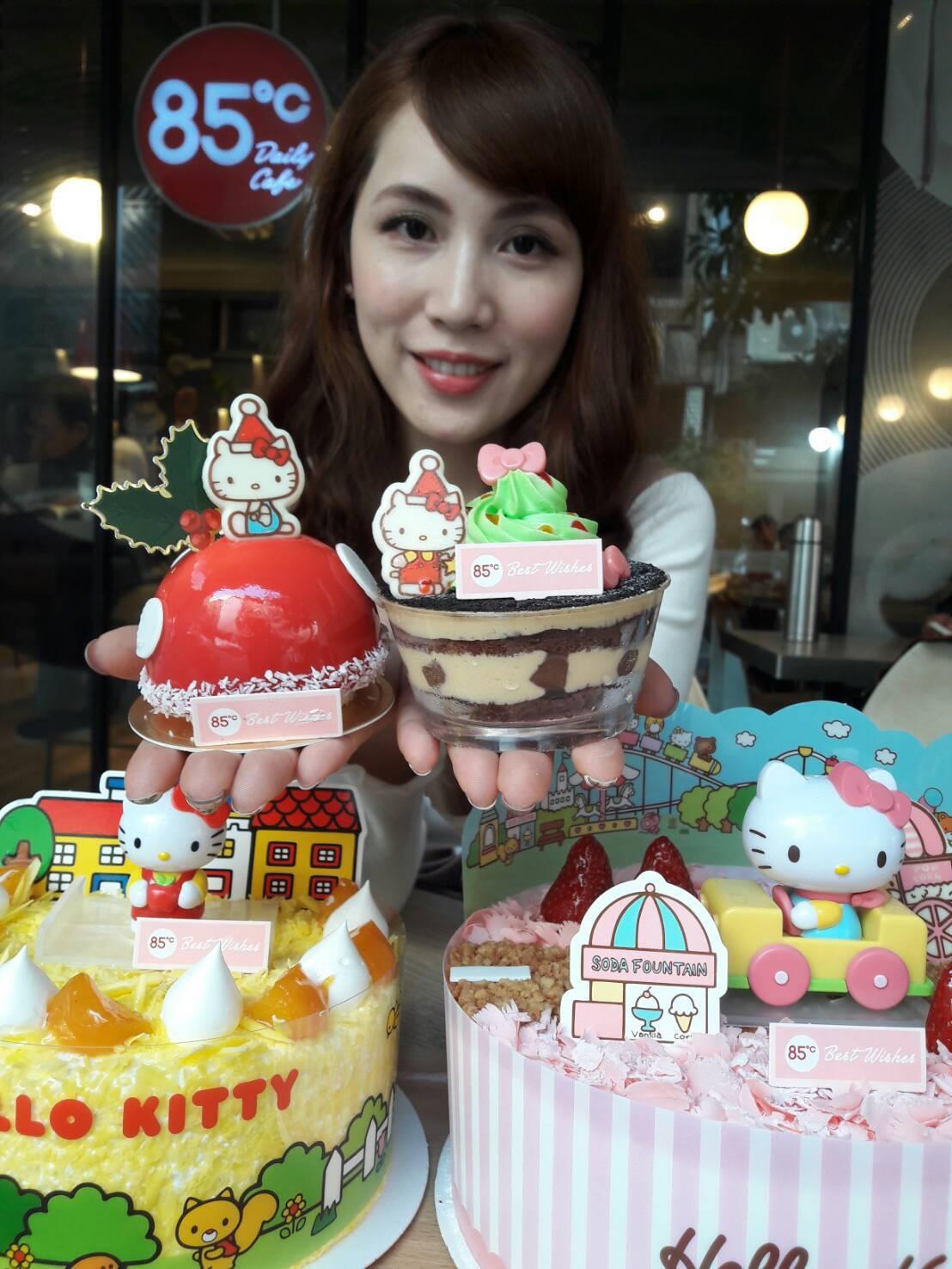 85˚C特別推出以Hello Kitty為主題的 Q版公仔和聖誕切片蛋糕,夢幻造...