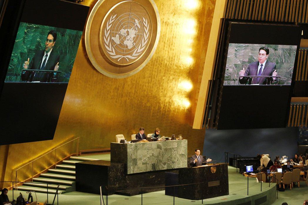 以色列駐聯合國大使丹農(Danny Danon)21日在聯合國大會上發言。僅管美...