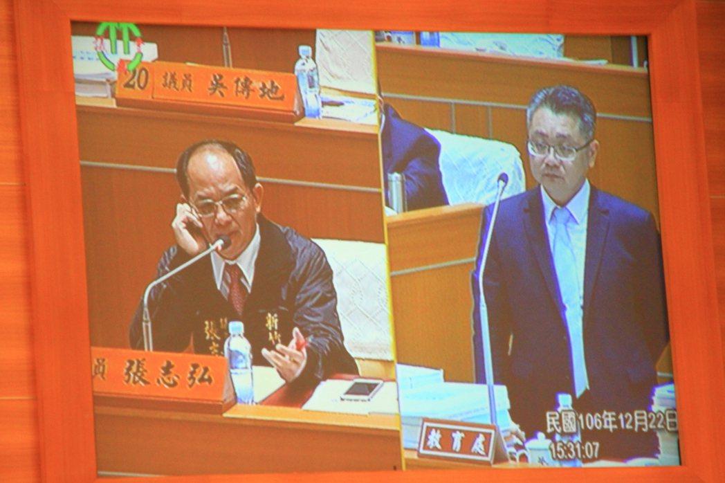 教育處長劉明超(右)解釋,體育園區除了有國民運動中心外,一旁的設施是附屬設施可容...