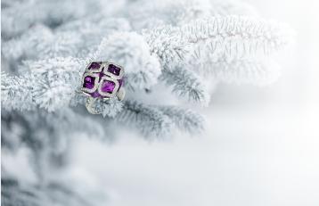 蕭邦Imperiale系列18K白金鑲嵌鑽石與4顆紫水晶戒指。圖/迪生提供