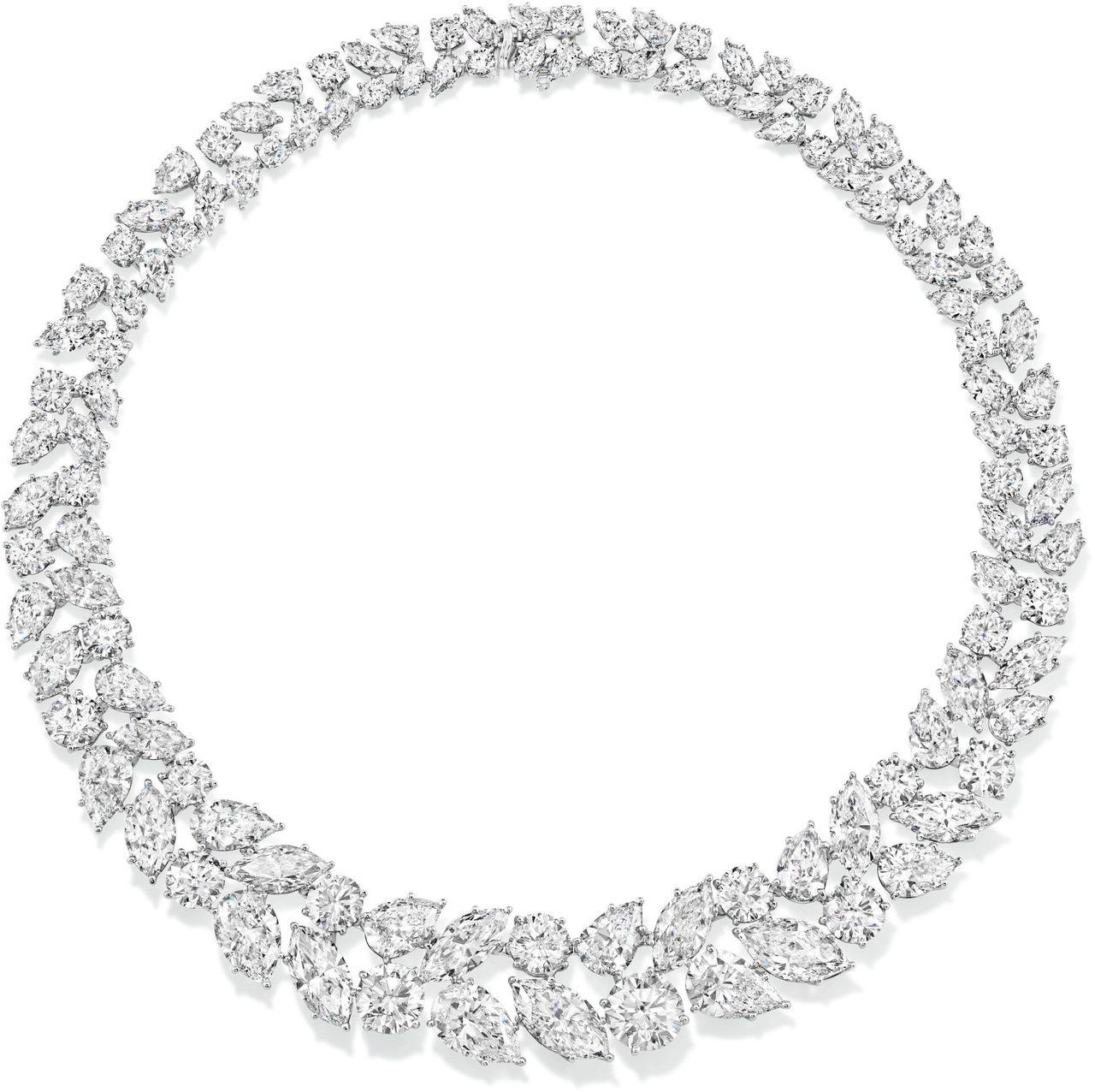 Winston Cluster經典溫斯頓風格Wreath鑽石項鍊。圖/海瑞溫斯頓...