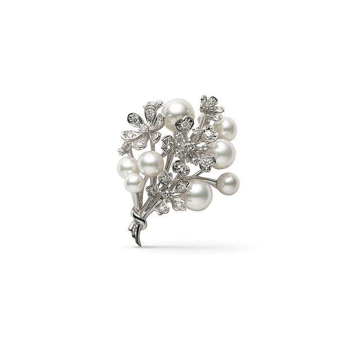 BLOOM Collection南洋珍珠及日本Akoya珍珠18K白金鑽石胸針,...