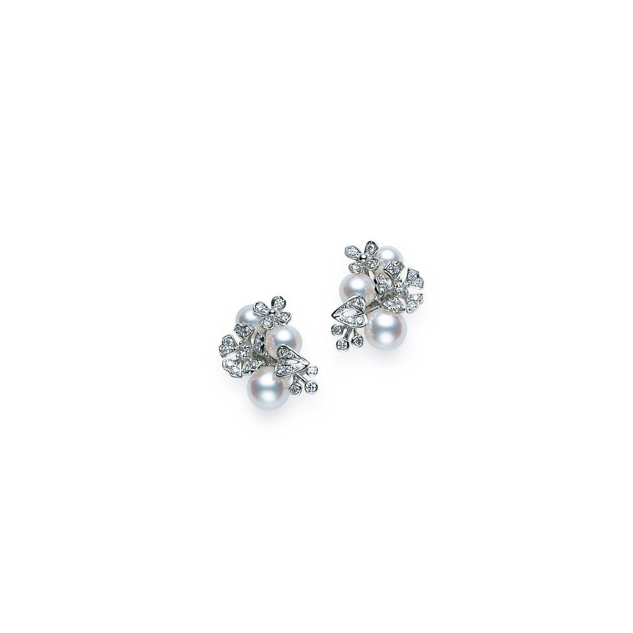 BLOOM Collection日本Akoya珍珠18K白金鑽石耳環,14萬8,...