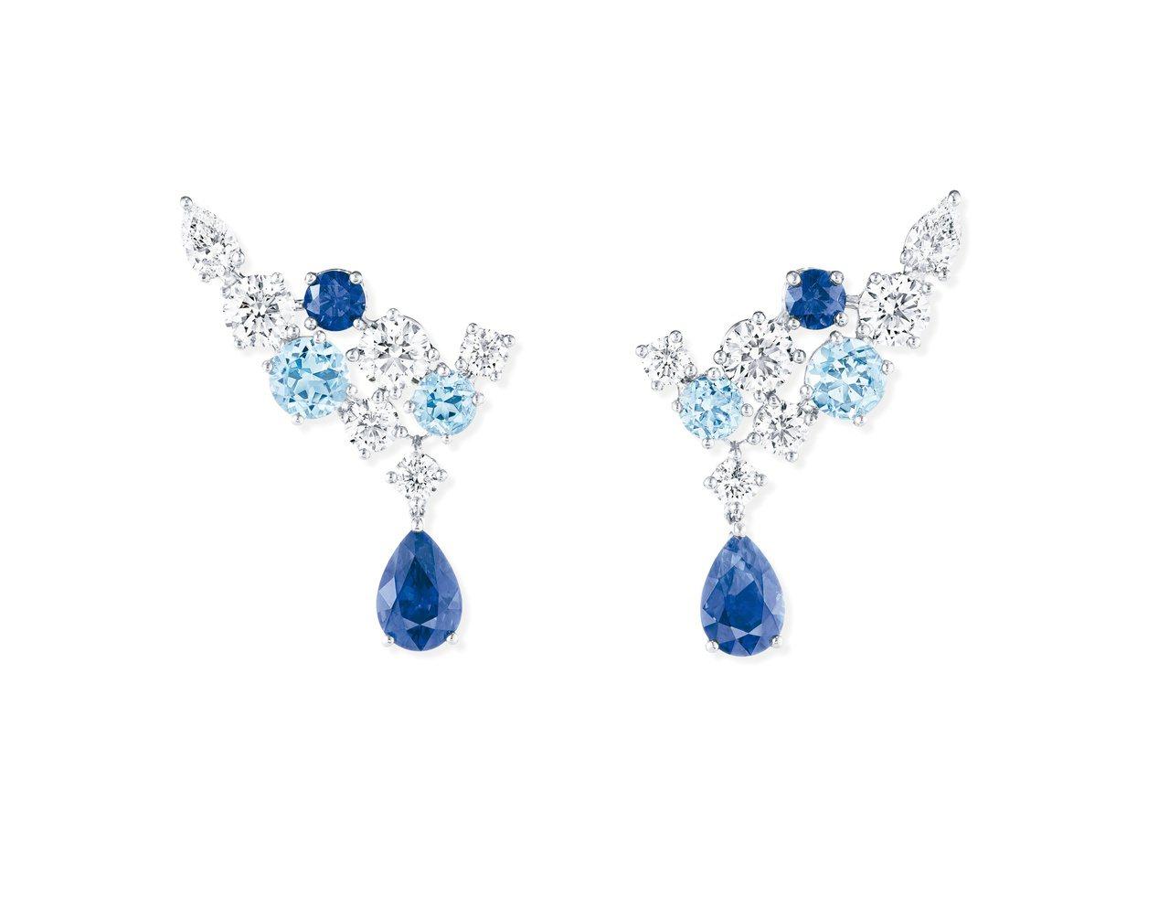 海瑞溫斯頓Sparkling Cluster絢漪錦簇藍寶石、海藍寶石及鑽石耳環。...