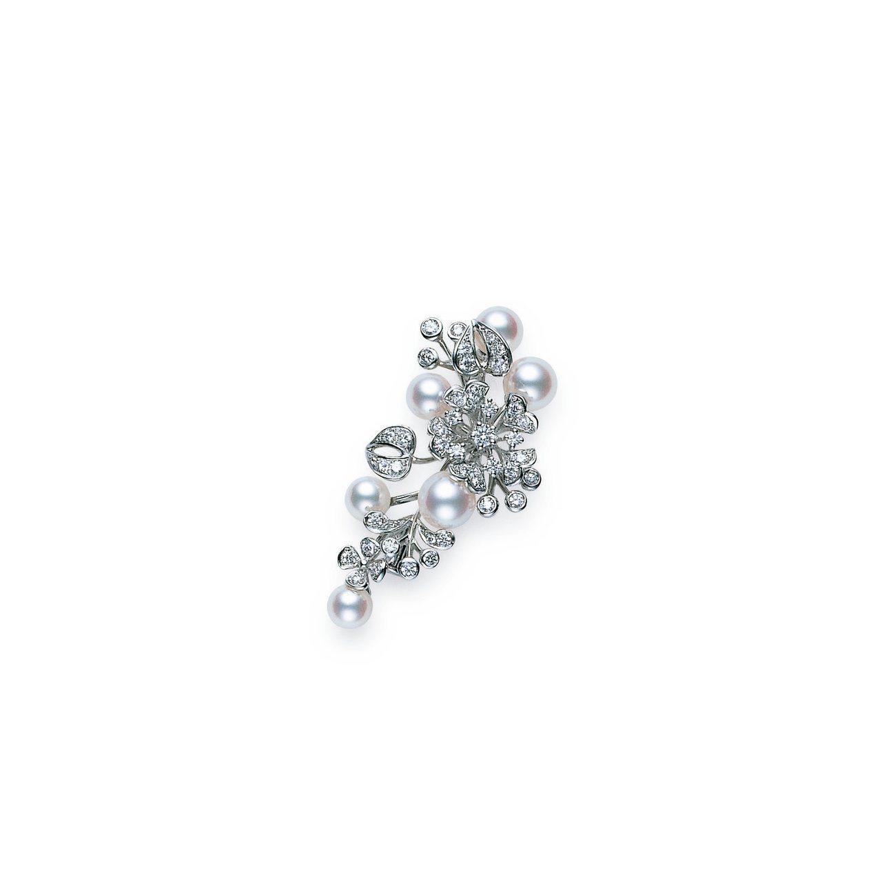 BLOOM Collection日本Akoya珍珠18K白金鑽石胸針,晶華酒店形...