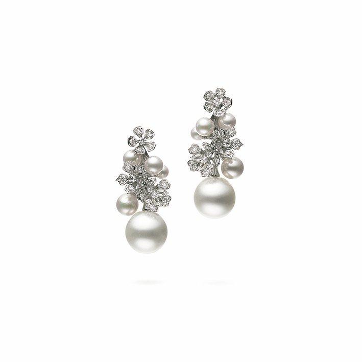BLOOM Collection南洋珍珠及日本Akoya珍珠18K白金鑽石耳環,...