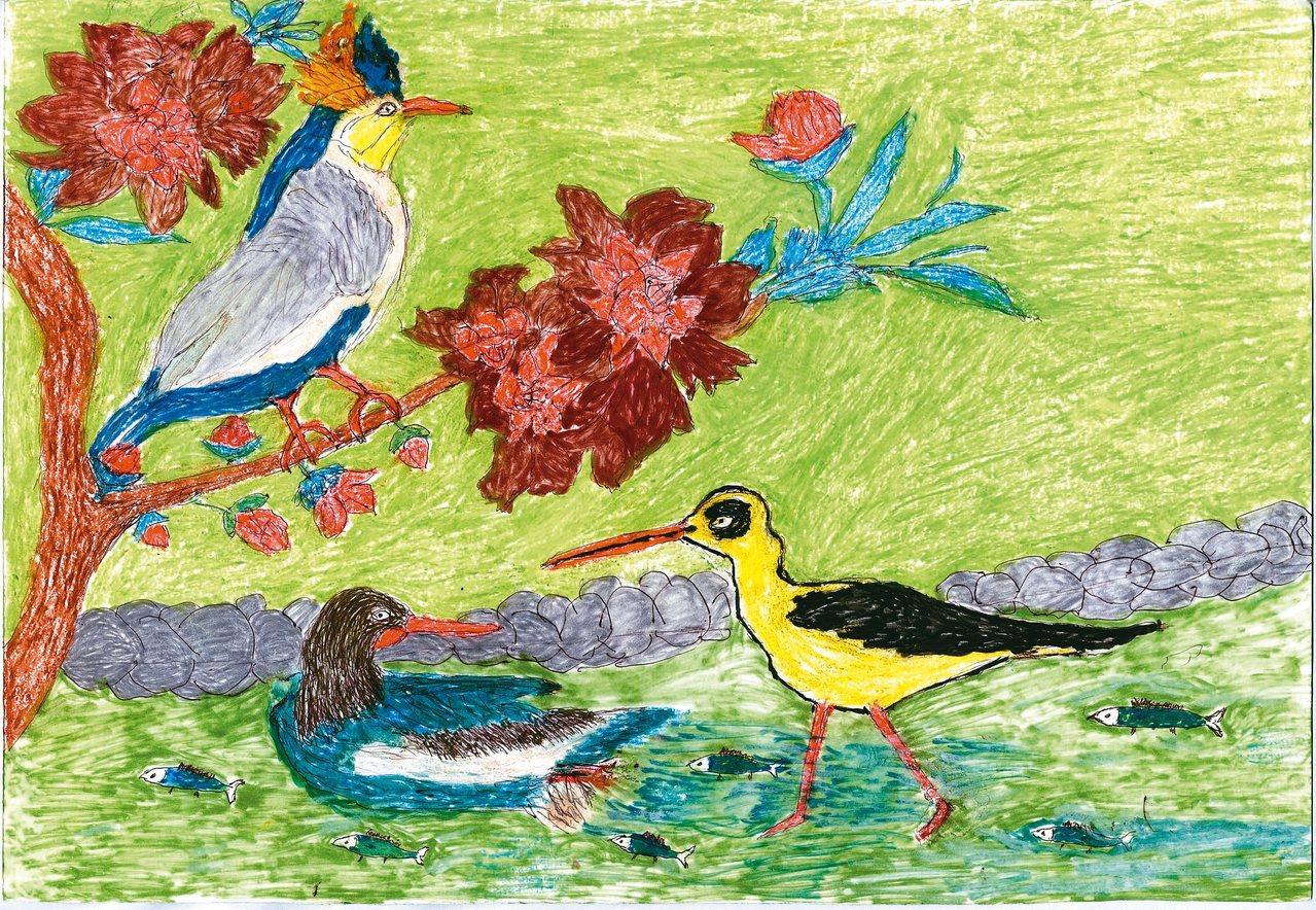 宛女阿嬤作品〈三隻家禽在河邊〉。 曾淑美 圖片提供