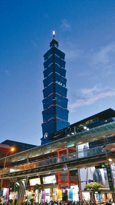 台北市調降公告地價及公告土地現值,台北101大樓則五度蟬聯北市地王。 圖/聯合報...