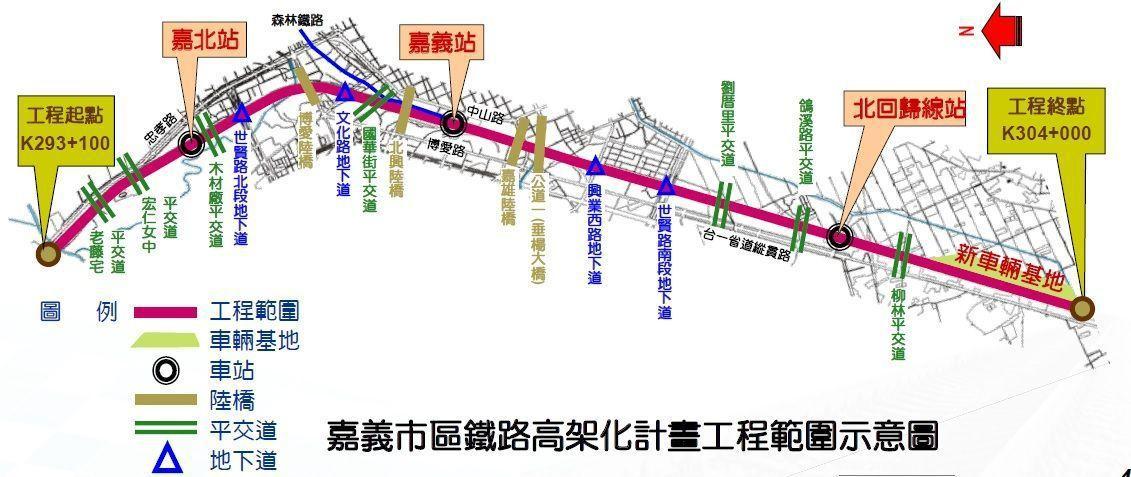 嘉市鐵高工程起點位於牛稠溪北端(台鐵縱貫線里程K293+100),工程終點位於嘉...
