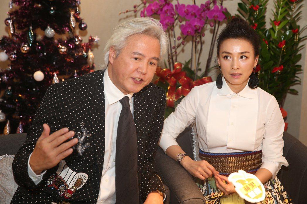 張庭(右)、林瑞陽(左)昨天出席自創品牌保養品牌旗艦店開幕活動接受媒體訪問。記者