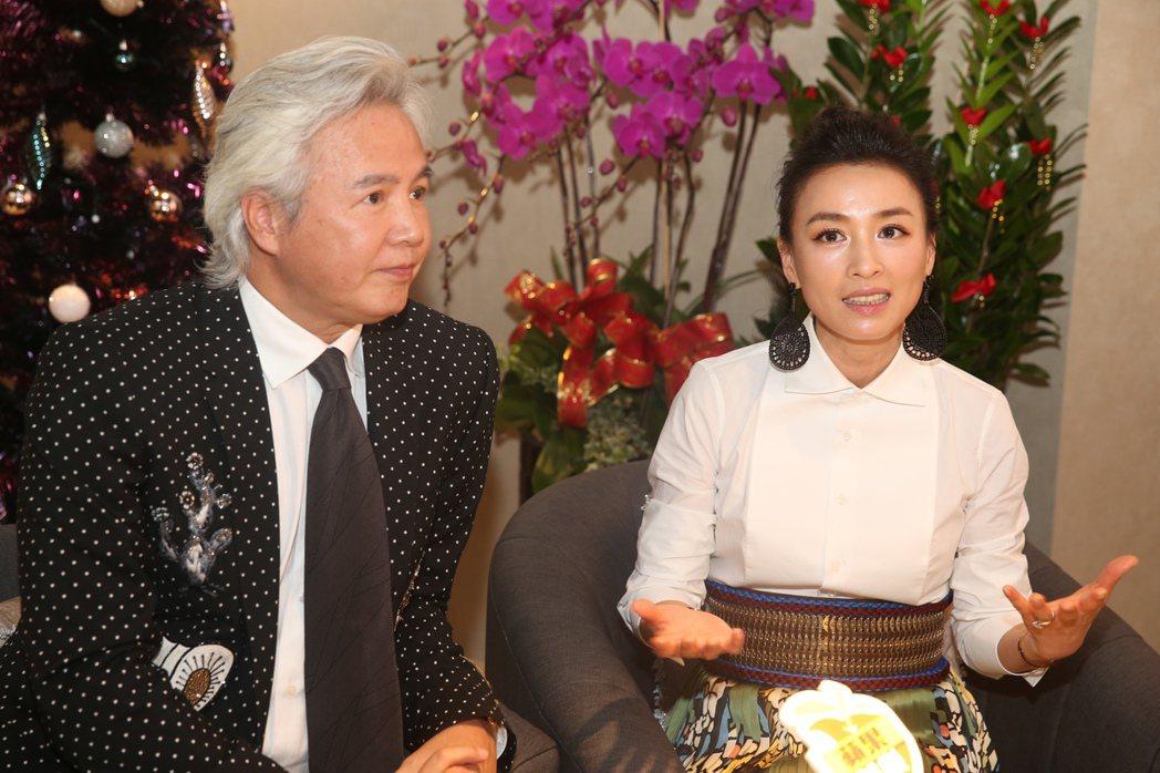 張庭(右)、林瑞陽(左)昨天出席自創品牌保養品牌旗艦店開幕活動接受媒體訪問。記者...