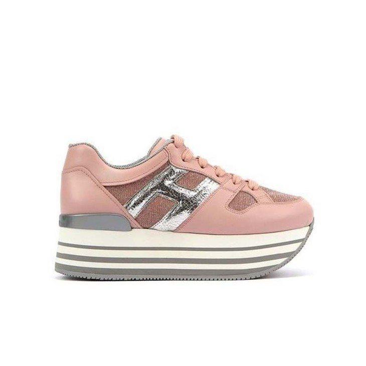 台灣限定款HOGAN MAXI H222粉紅拼接休閒鞋,20,600元。圖/迪生...