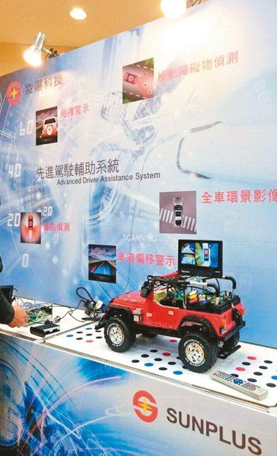 凌陽專注於車用晶片技術研發,圖為凌陽展示先進駕駛輔助系統新產品。 凌陽/提供