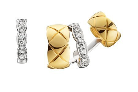 COCO CRUSH 銬式耳環,18K黃金與白金鑲嵌22顆明亮式切割鑽石,18萬...