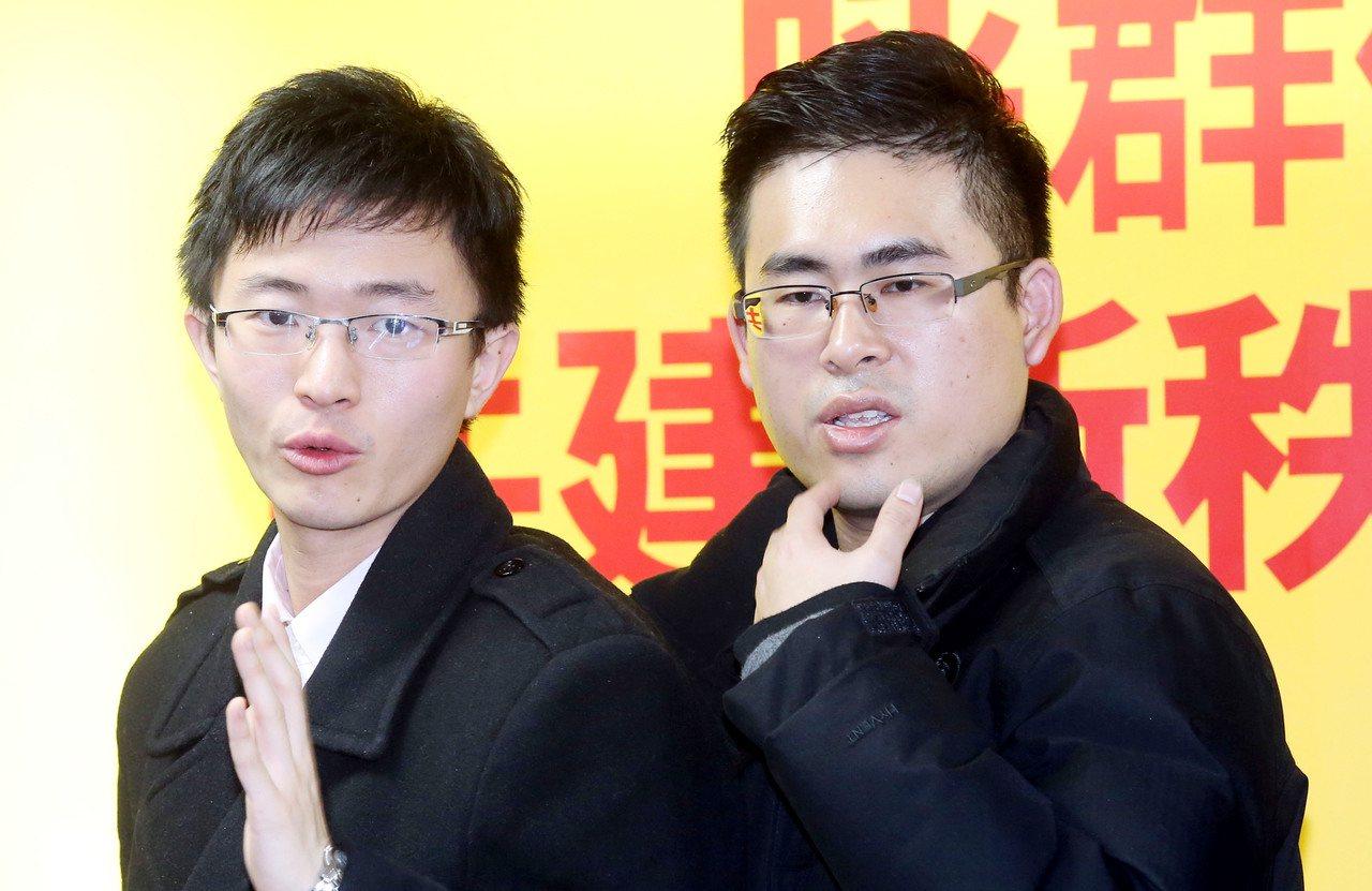 新思維中心主任侯漢廷(左)、青年委員會主席王炳忠(右)。聯合報系資料照/記者林俊...