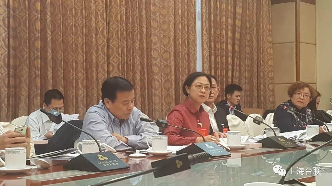 赴北京出席大陸全國台聯會議的上海代表。中間著紅衣為盧麗安。擷取自上海台聯官方微信...