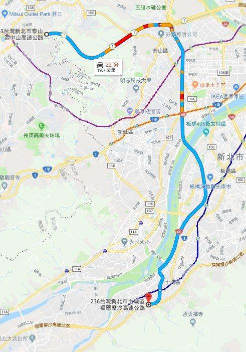 賓士車從國道三號跨到國道一號爬上五楊高架,相距20公里只花20分鐘。 記者林昭彰...