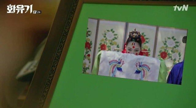 電視中出現合成用的綠幕。圖/摘自tvN