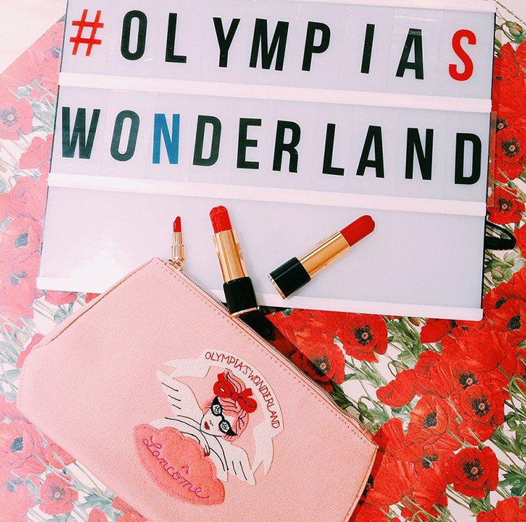 蘭蔻X Olympia Le Tan秋季限量聯名彩妝「夢幻復古樂園化妝包」。圖/...