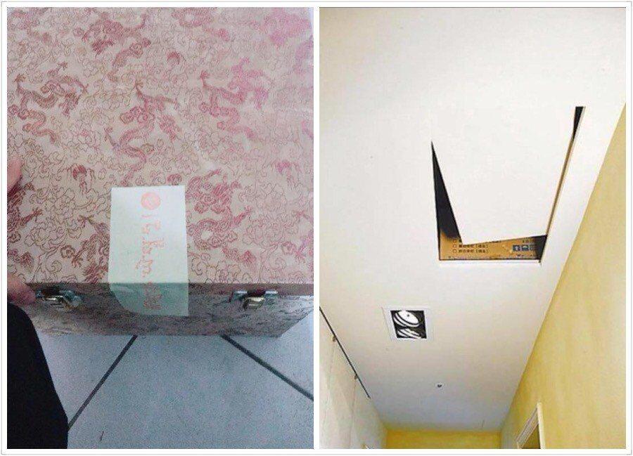 網友表示朋友在新買的房子天花板內發現貼有符紙的箱子。圖/翻攝自爆廢公社