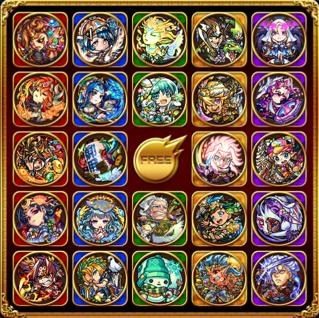 BINGO卡片共25格,5種屬性、75種怪物彈珠的角色隨機分配。