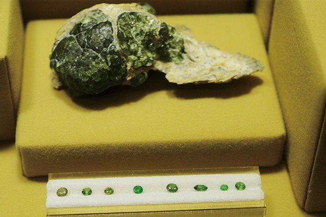 洛杉磯歷史博物館館藏的翠榴石原礦以及切磨後的裸石,尺寸都沒有很大,顏色介於黃綠到...