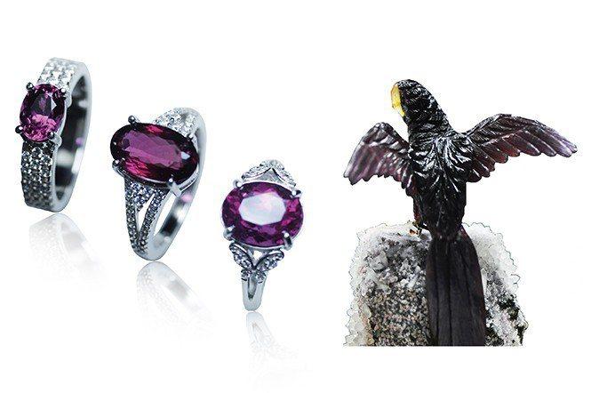 石榴石家族中最常見的鐵鋁鎂鋁榴石,紅色、紫紅色系列的雕件及戒指。