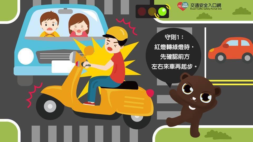 台南市警察局交通警察大隊提醒,紅燈轉綠燈時,先確認前方、左右來車再起步。圖/交通...