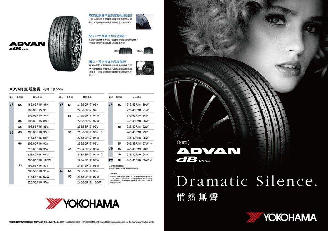 Yokohama Advan dB V552 橫跨 15-20 吋,共計有 45 款規格。 橫濱輪胎 提供