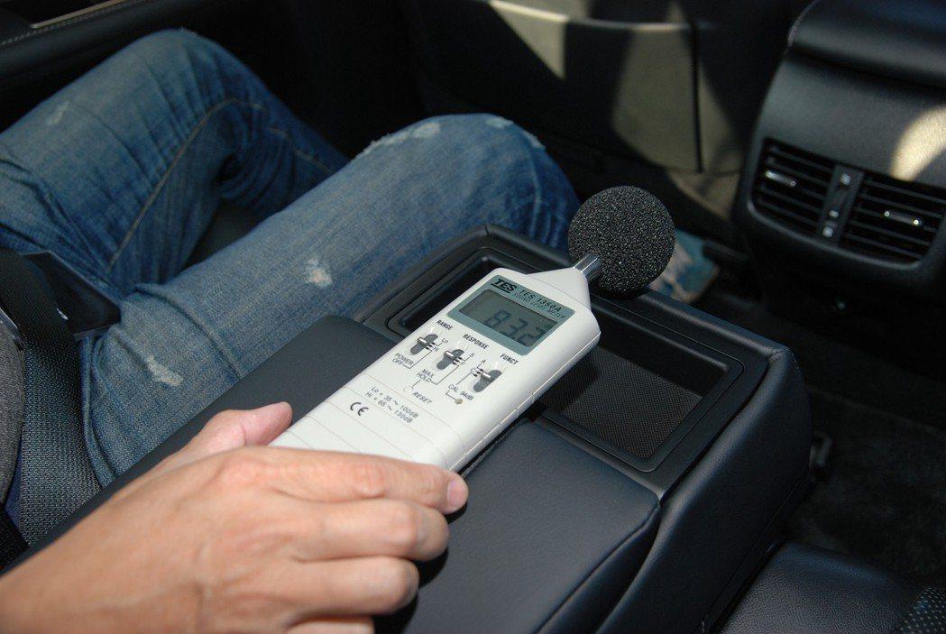 車內皆有分貝計進行檢測。 記者林鼎智/攝影