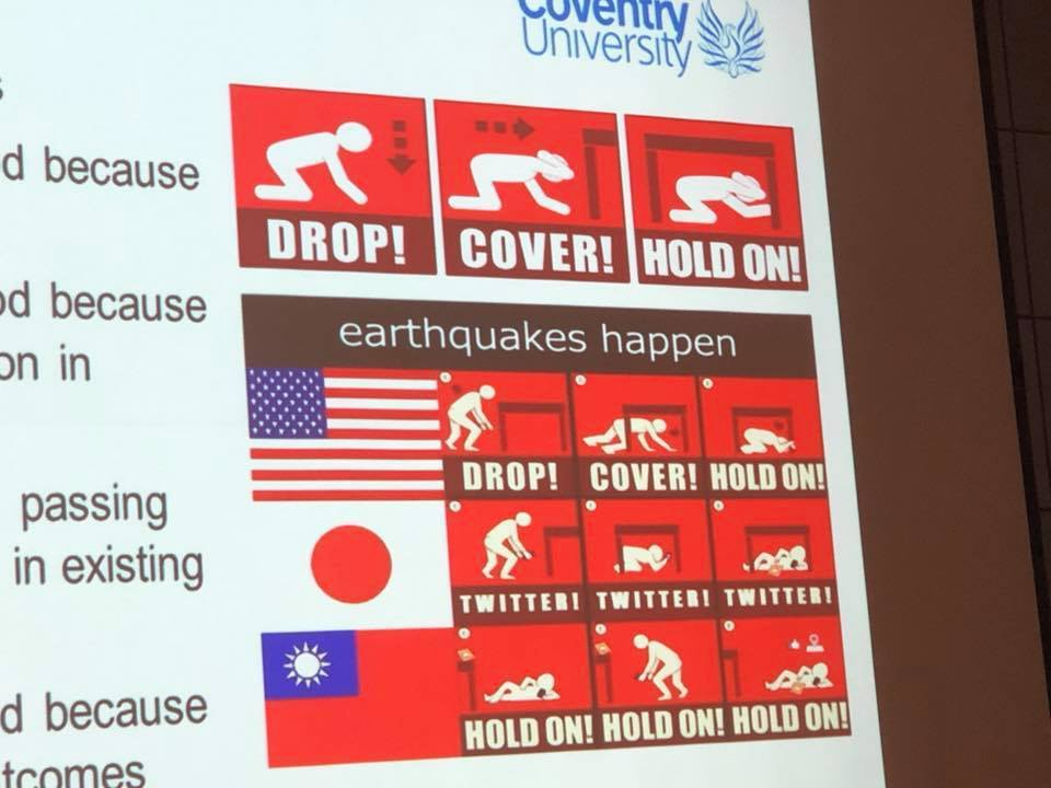 氣象專家彭啟明分享了參加學會的簡報圖,比較美國、日本和台灣人遇到地震的反應。取自...