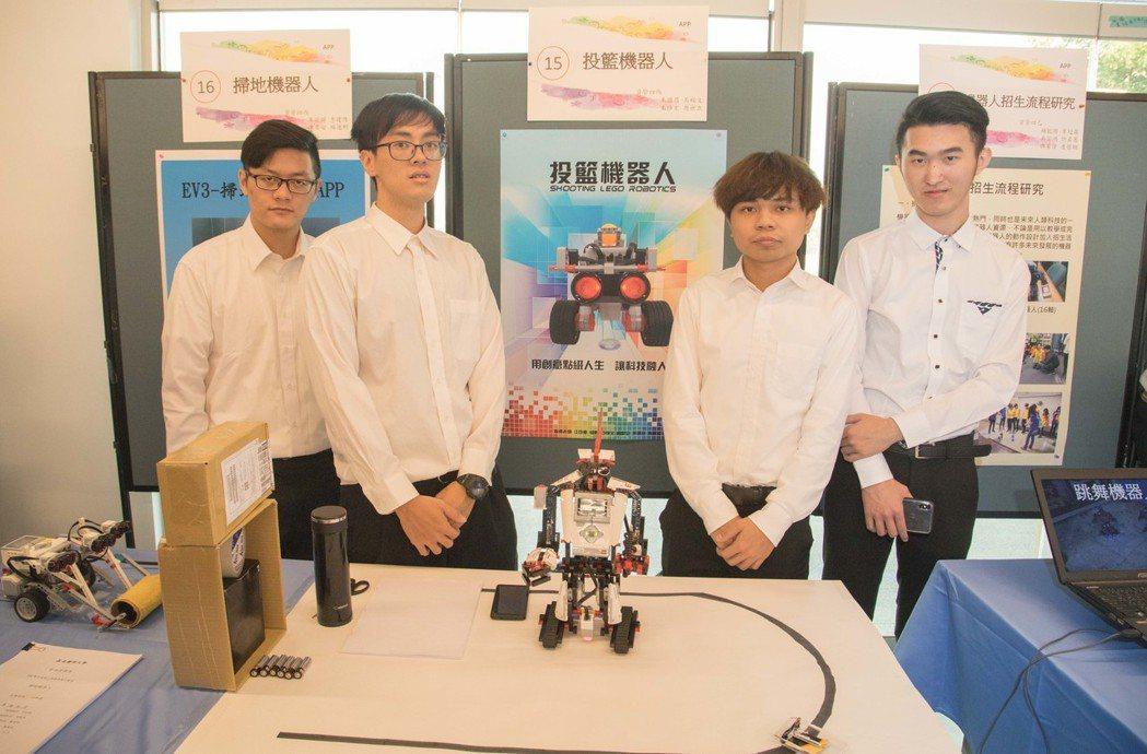 學生研發機器人能輕易做出投籃動作。 嘉南藥大/提供