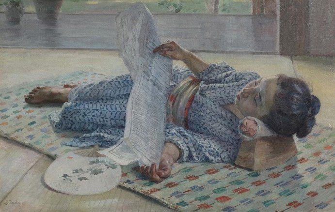和田英作 少女讀報 油彩 畫布 1897 54.8x84.5cm, 東京藝術大...