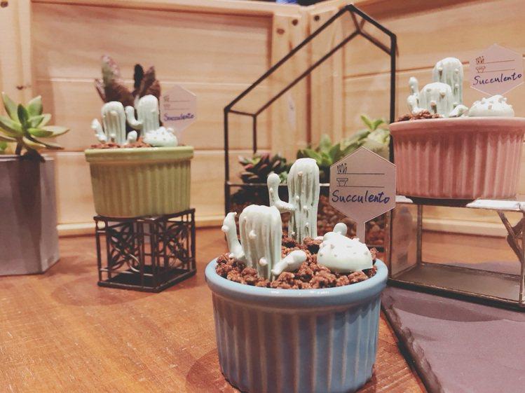 可愛的多肉甜點Succulento。圖/有肉Succulent & Gift提供