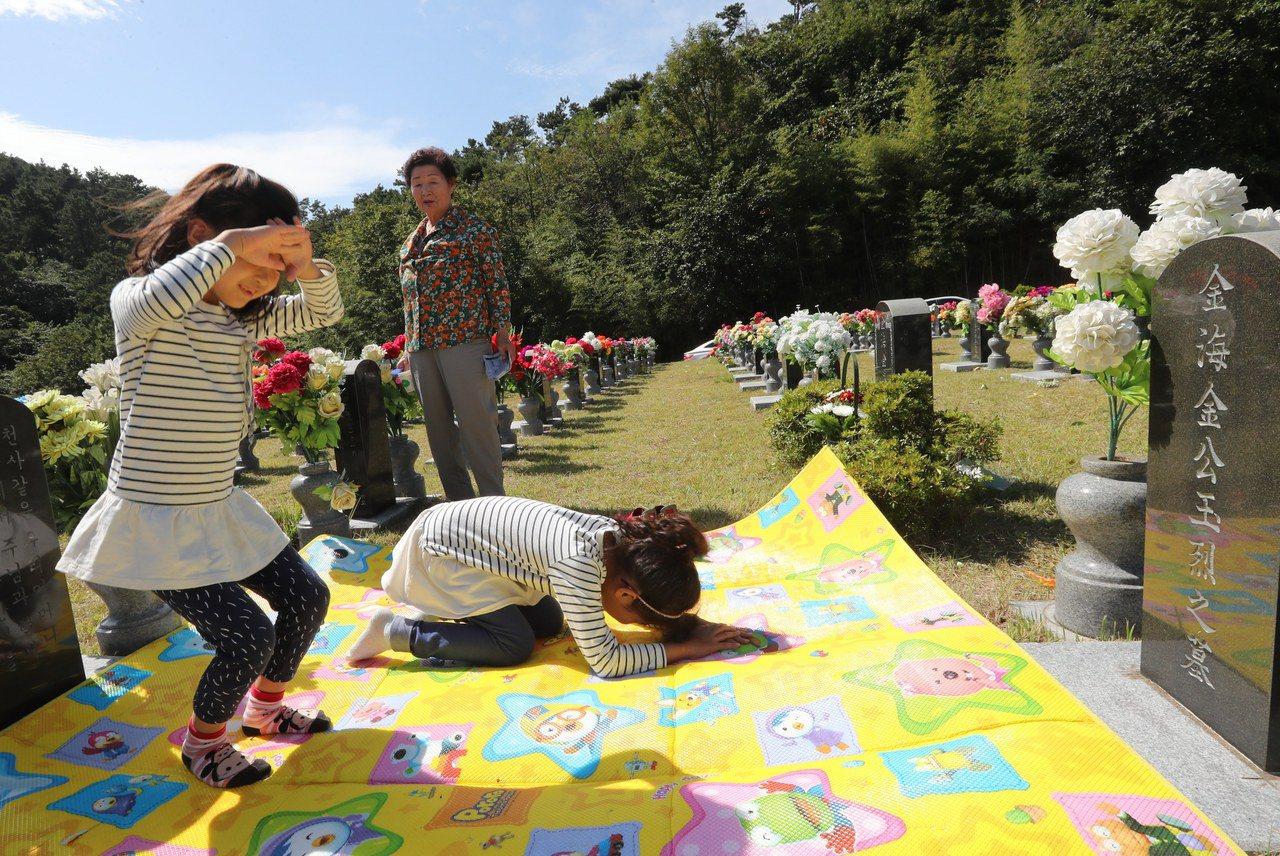 南韓掃墓畫面。歐新社