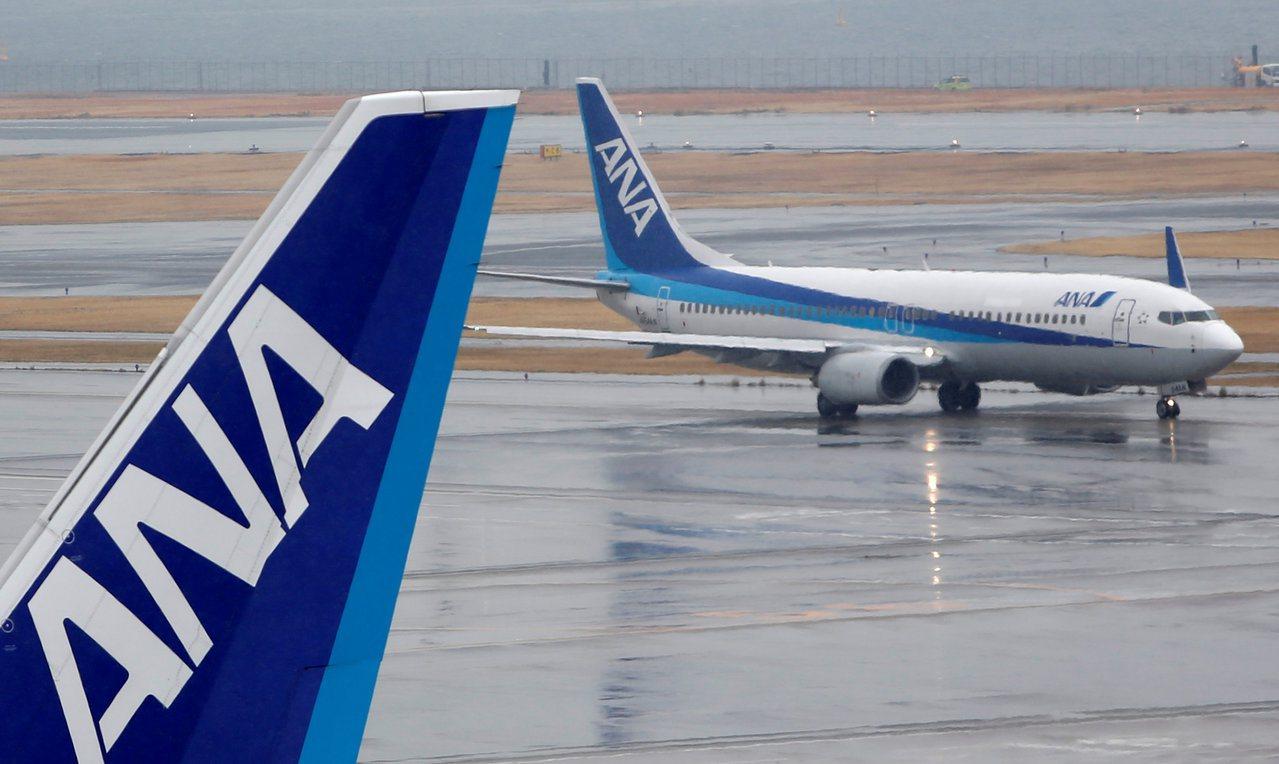 日本全日空航空飛機示意圖。路透
