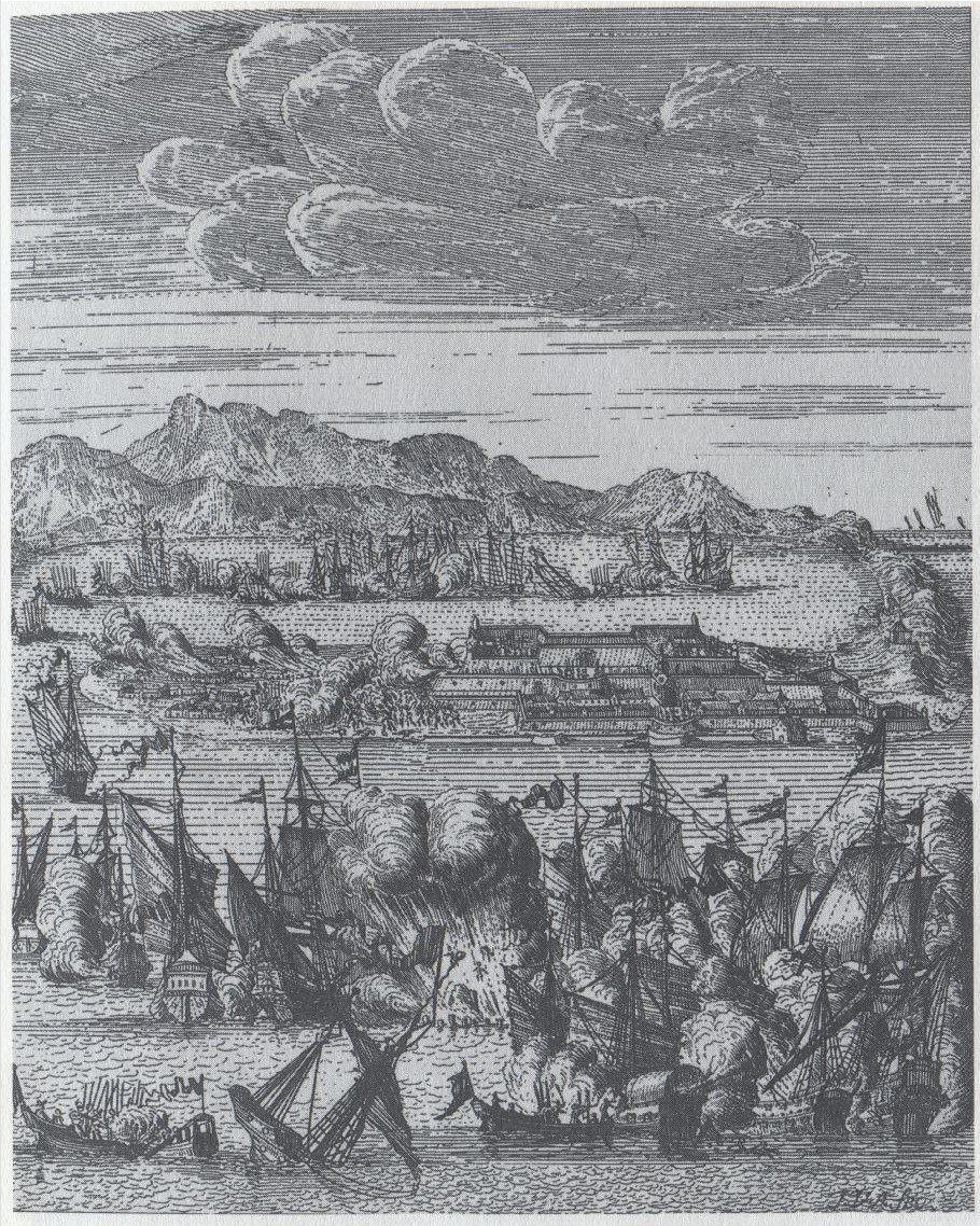 1661年9月16日荷蘭船敗仗圖。Jan van Aveele的銅板畫,引自C....