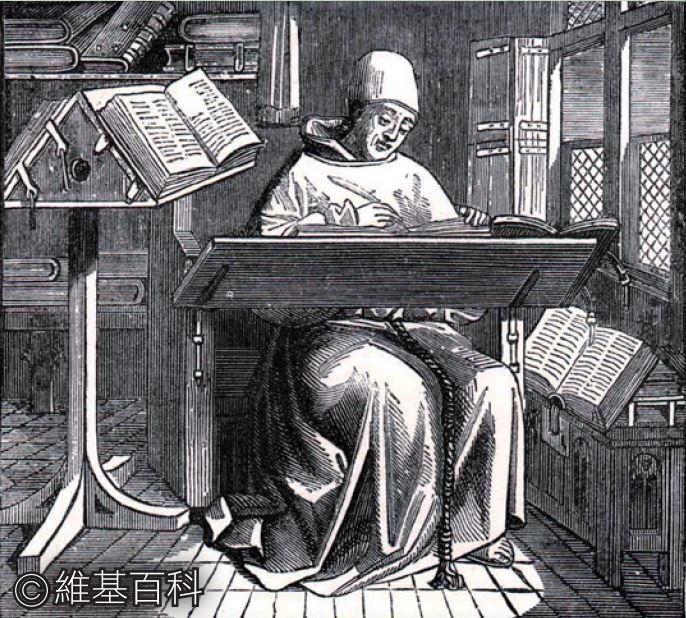 西方中世紀手稿中有很多插圖,描繪聖經學者以及他們所使用的抄寫工具──鵝毛沾水筆。