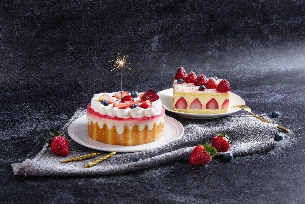 (左)底麗思草莓:與日本甜點大師坊佳樹合作,打造多層次的幸福口感, 6吋750元...