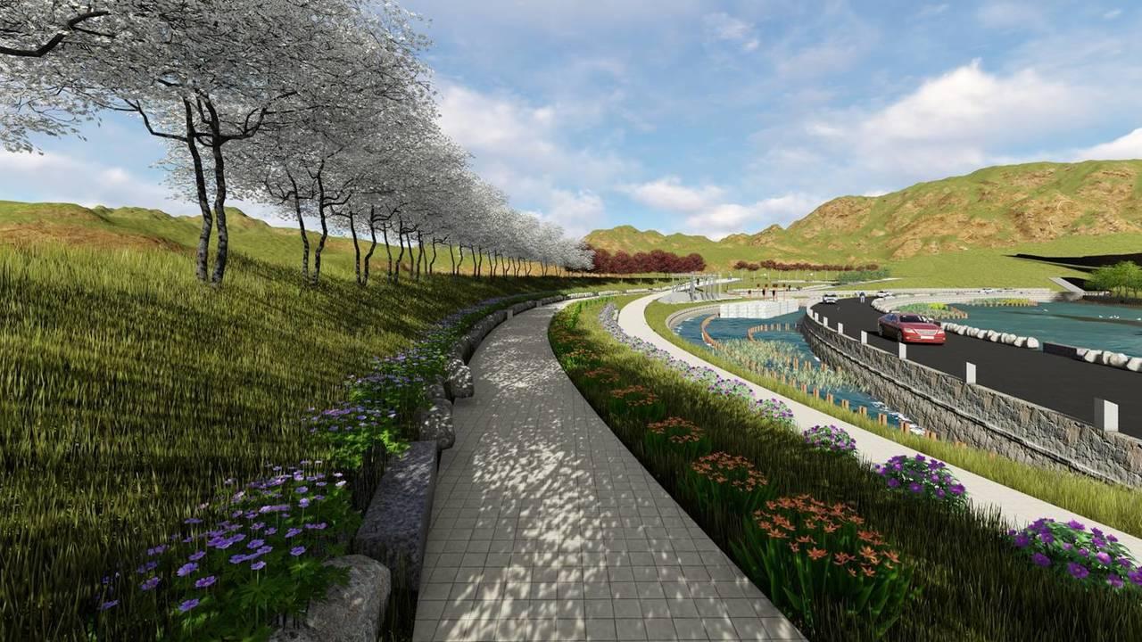 埔里鎮眉溪岸堤設施即將完工,未來可供民眾休閒散步或騎單車。圖/水利署第三河川局提...