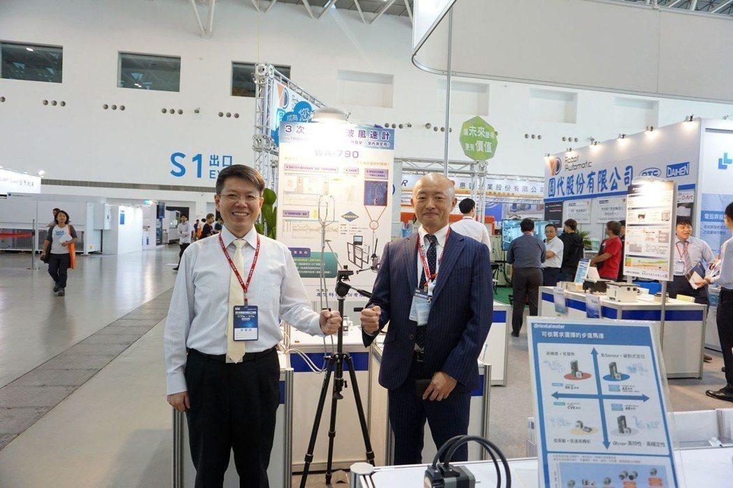 廣億科技總經理紀宗南(左)與代理原廠日本SONIC公司經理Yoshikazu T...
